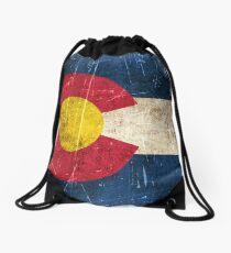 Vintage Aged and Scratched Colorado Flag Drawstring Bag