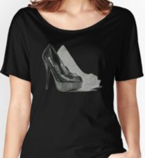 Black Fashion High Heel Shoe Illustration Women's Relaxed Fit T-Shirt