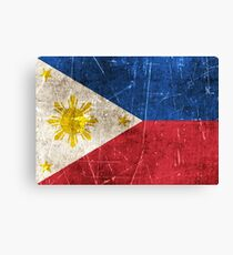 Vintage Aged and Scratched Filipino Flag Canvas Print