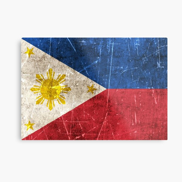 Vintage Aged and Scratched Filipino Flag Metal Print