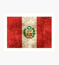 Vintage Aged and Scratched Peruvian Flag Art Print
