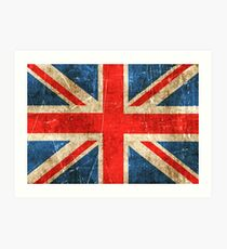 Vintage Aged and Scratched British Flag Art Print