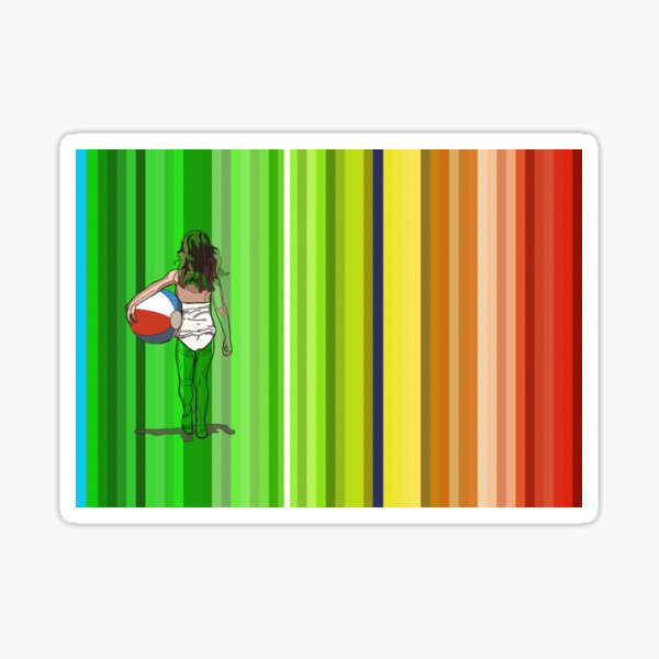 girl with beachball with colorfull stripes in the background Sticker