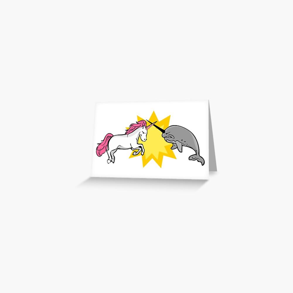 Unicorn vs Narwhal Greeting Card