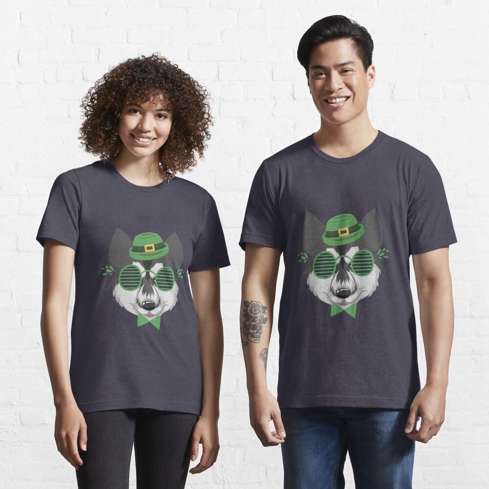 funny  siberian husky Dog Head Eyeglasses For St. Patrick's Day Sticker  Gift for  boyfriend  Gift for husband  Essential T-Shirt