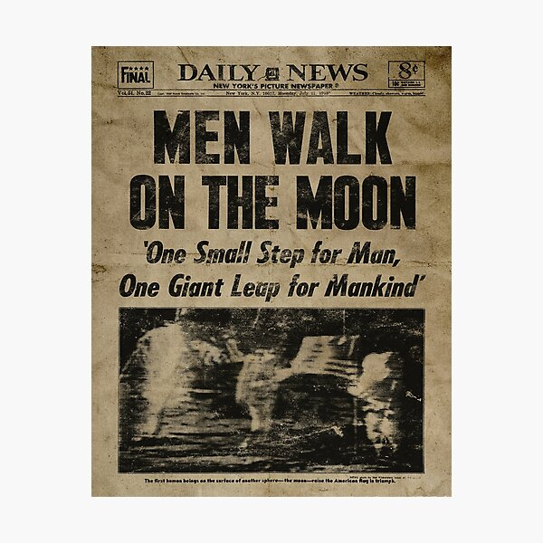 Men Walk on the Moon 1969 newspaper Photographic Print