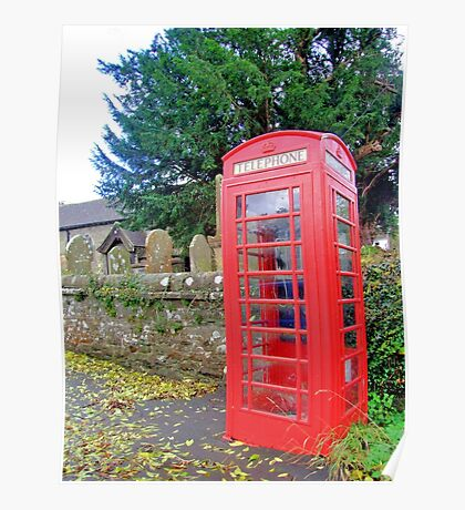 Call Home - Home Call, Red Royal Phone Booth, at a grave yard, cemetery  Poster