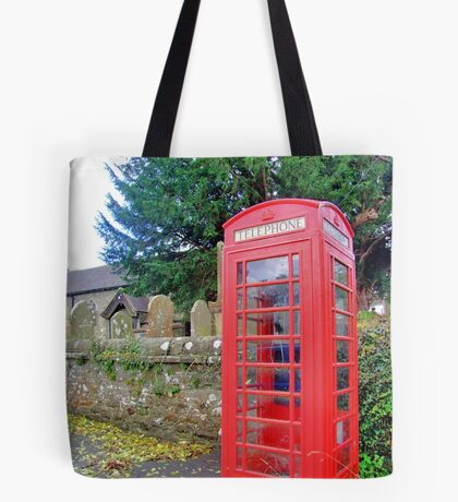 Call Home - Home Call, Red Royal Phone Booth, at a grave yard, cemetery  Tote Bag