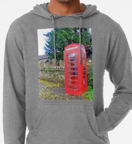 Call Home - Home Call, Red Royal Phone Booth, at a grave yard, cemetery  Lightweight Hoodie