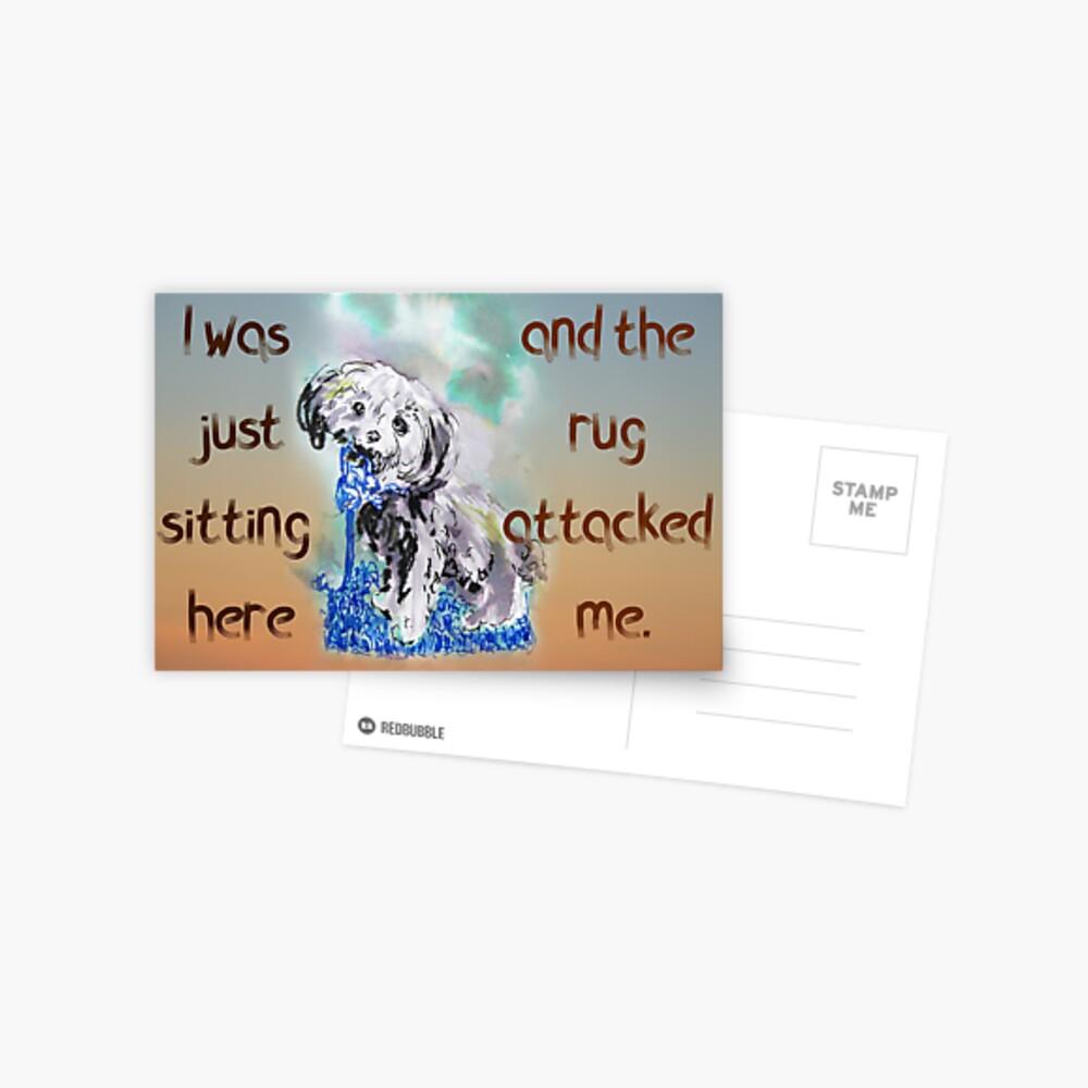 Naughty Puppy Rug Attack Cavoodle Cavapoo Postcard