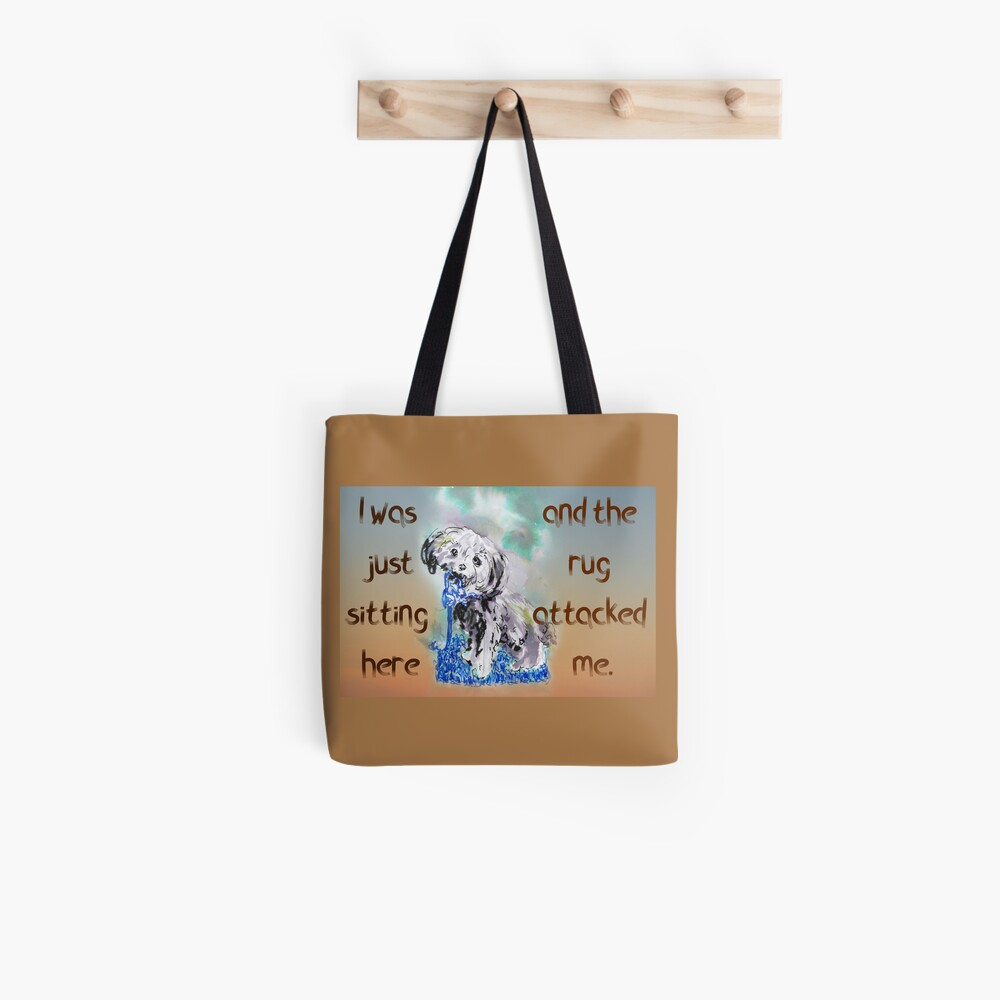 Naughty Puppy Rug Attack Cavoodle Cavapoo Tote Bag