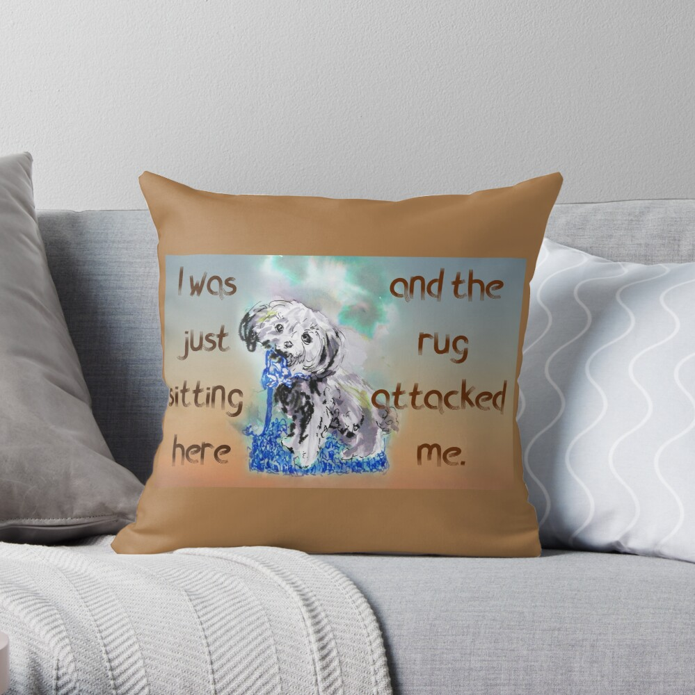 Naughty Puppy Rug Attack Cavoodle Cavapoo Throw Pillow