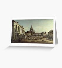 Vintage famous art - Bernardo Bellotto  - View Of Dresden With The Frauenkirche At Left 1747 Greeting Card