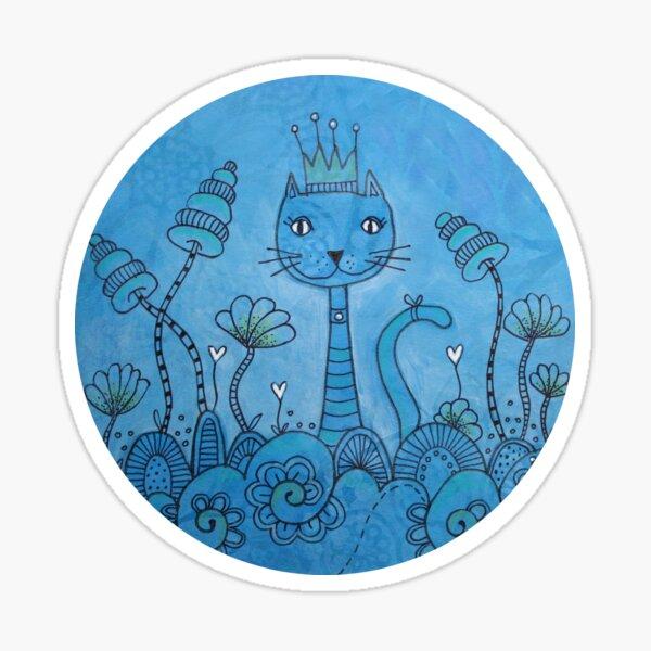 Blue Cat Doodle Artwork Sticker