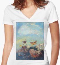 Butterflies - Butterflies Women's Fitted V-Neck T-Shirt