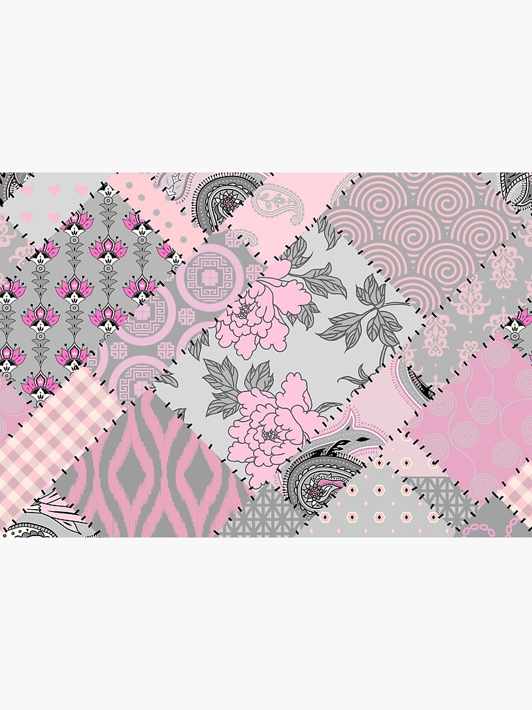 Gray and pink pattern in patchwork style by tkdesignThings