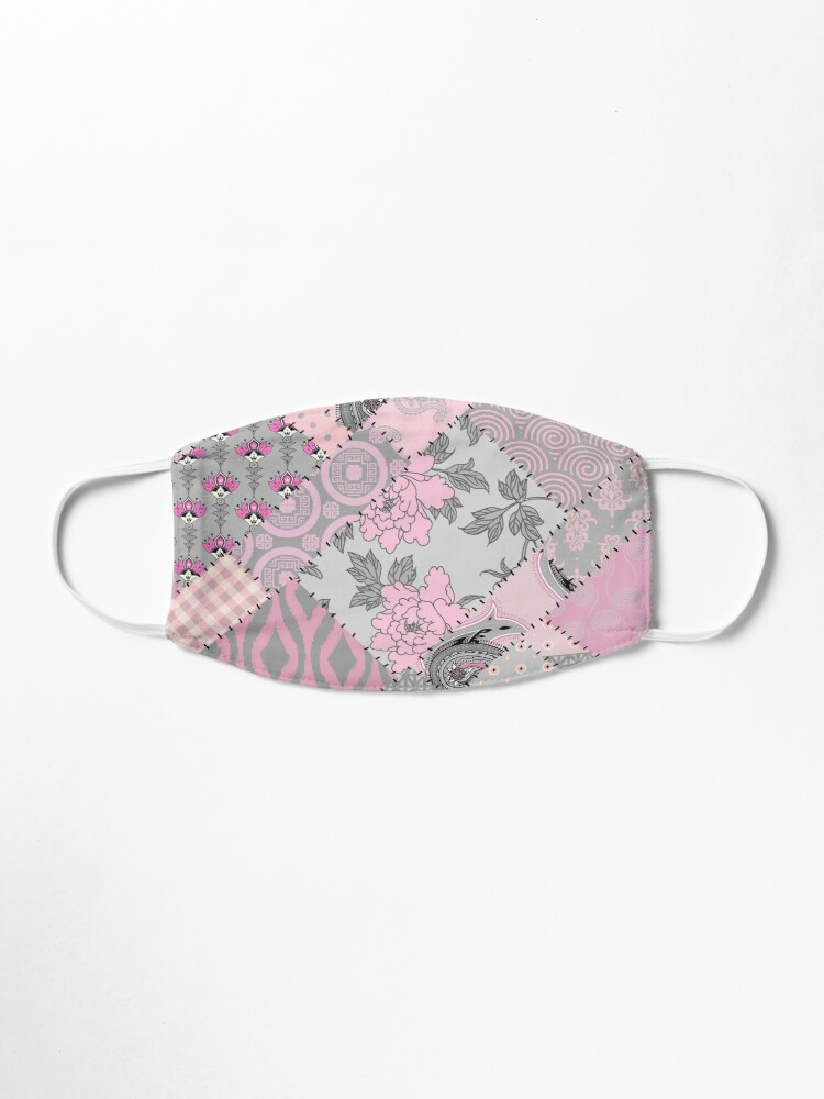 Alternate view of Gray and pink pattern in patchwork style Mask