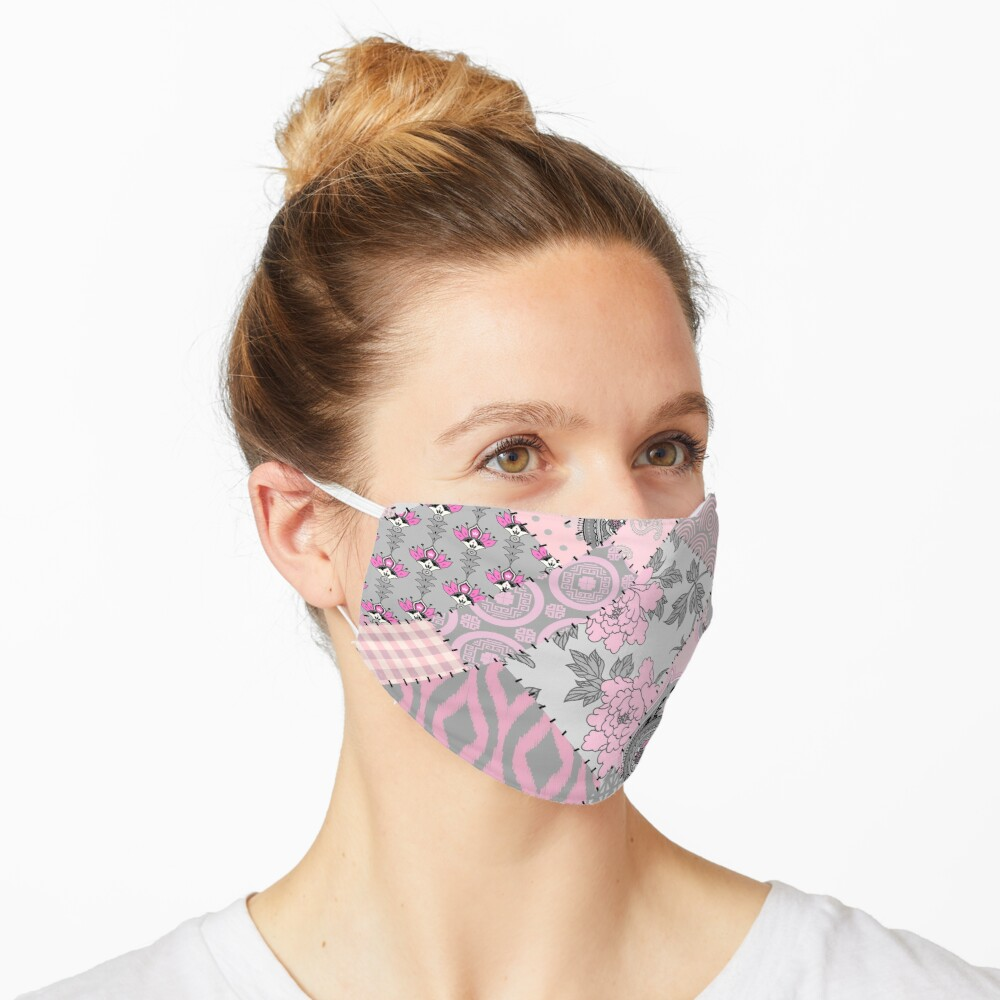 Gray and pink pattern in patchwork style Mask