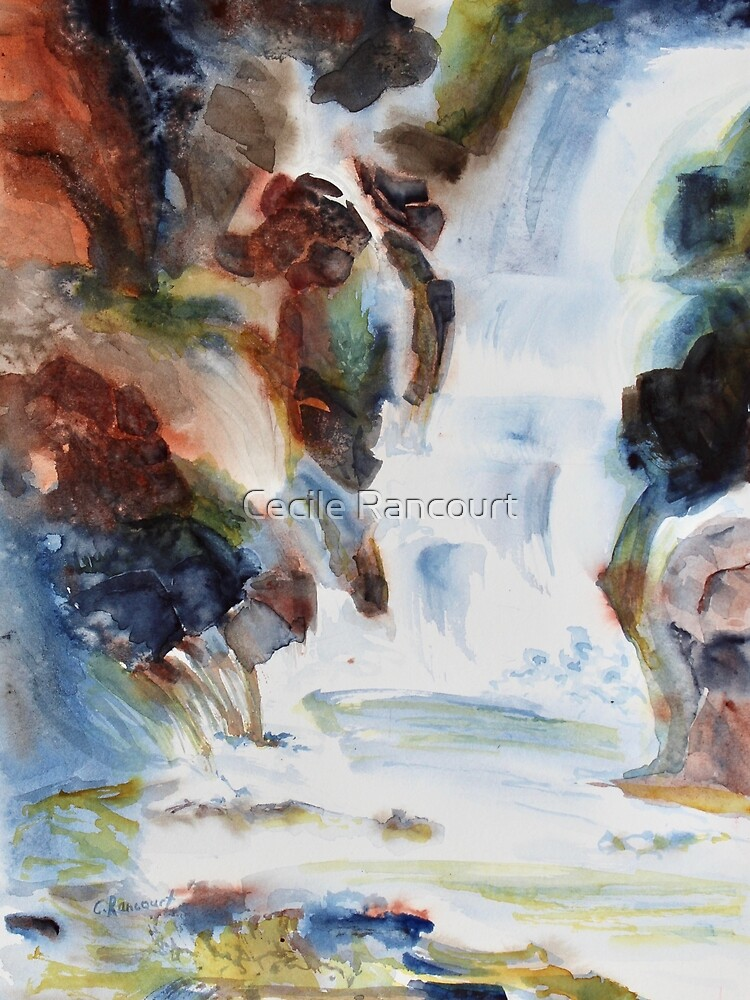 Romantic waterfall watercolor, cascade, rocky waterfall with moss by pinidee