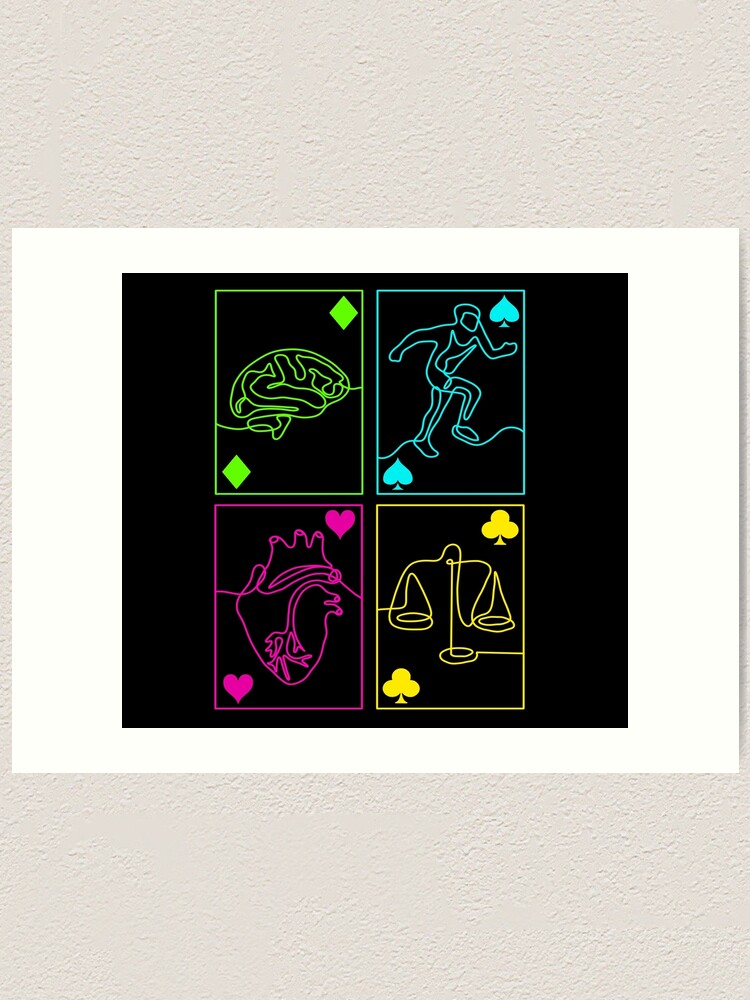 Alternate view of Alice Playing Cards Suits Manga Game of Hearts Art Print