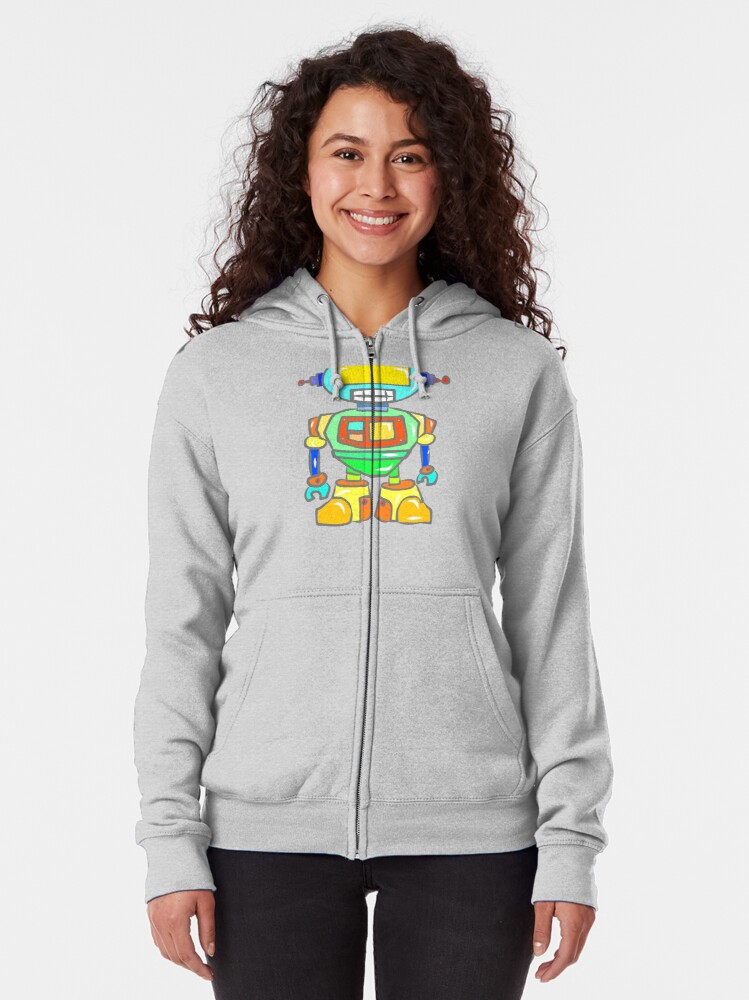 Alternate view of Awesome Robot Zipped Hoodie