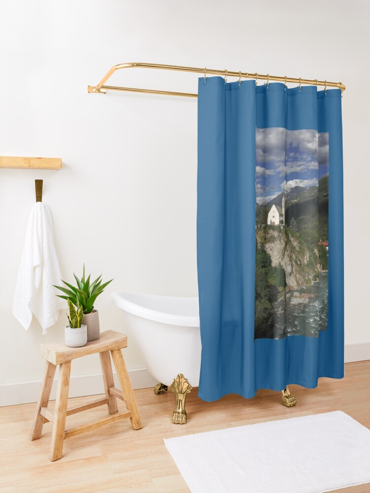 Alternate view of Late Gothic church in Switzerland Shower Curtain