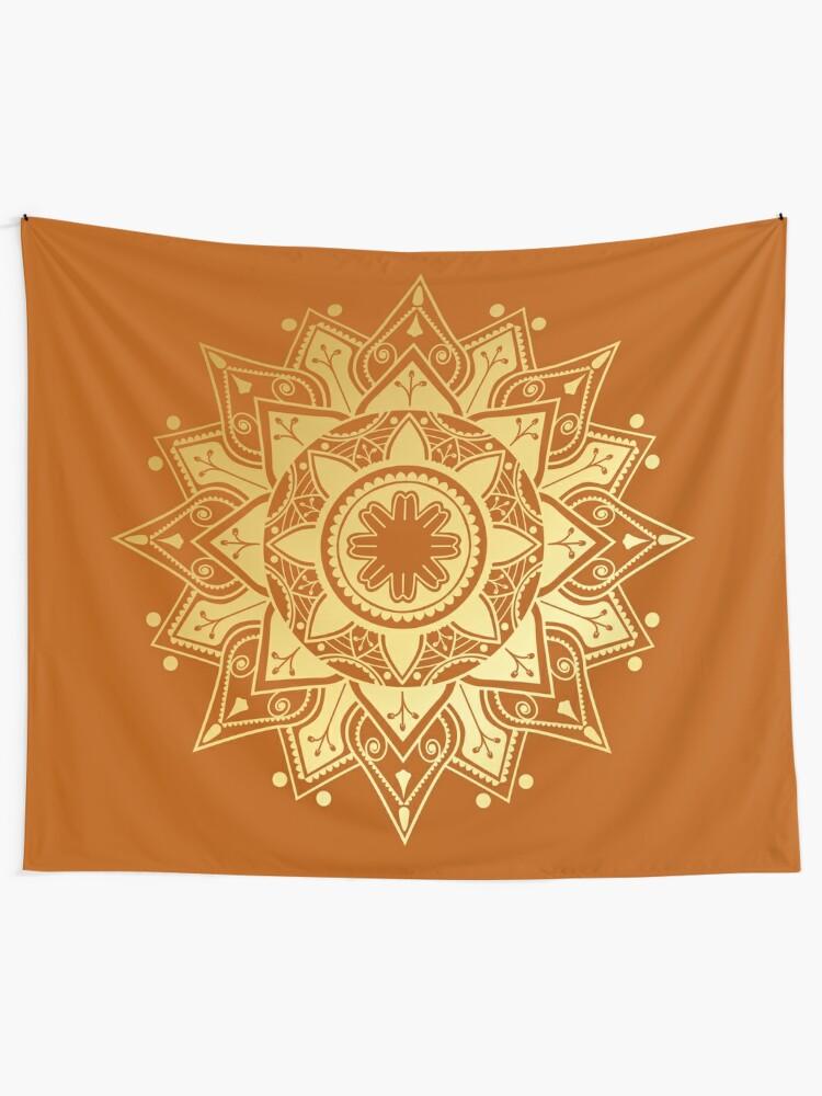 Alternate view of Gold Mandala Tapestry