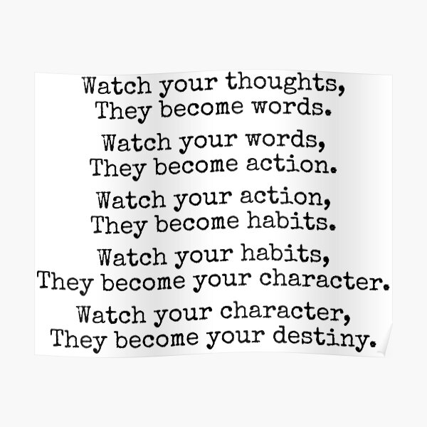 Watch Your Thoughts Inspirational Quote Lao Tzu Poster