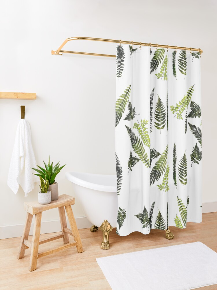 Alternate view of Fronds of ferns Shower Curtain