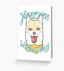 Shiba Inu Puppy in a Scarf Greeting Card
