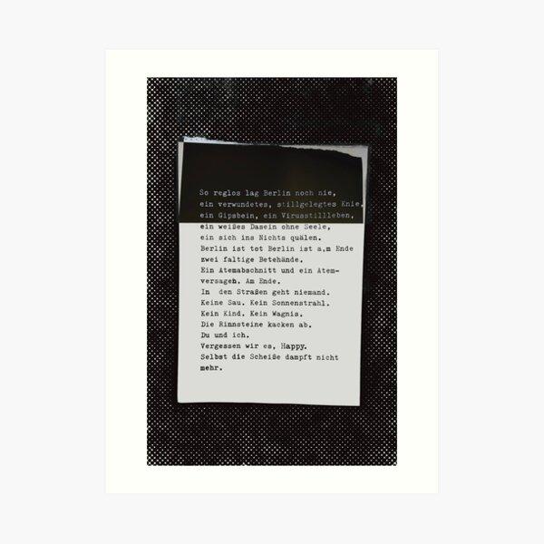 So reglos lag Berlin noch nie ... Gedicht 25, Lockdown, ein C-Movie Kunstdruck