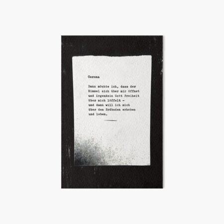 Corona ... Gedicht 15, Lockdown - EIN C-MOVIE Galeriedruck