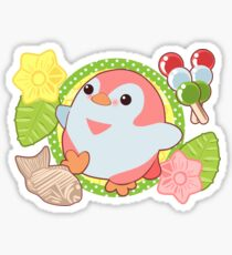 Pink Kawaii Penguin and Wagashi Sticker