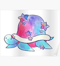 Rainbow Star Turtle Watercolor Poster