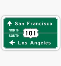 San Francisco-Los Angeles-US Route 101, Road Sign, California Sticker