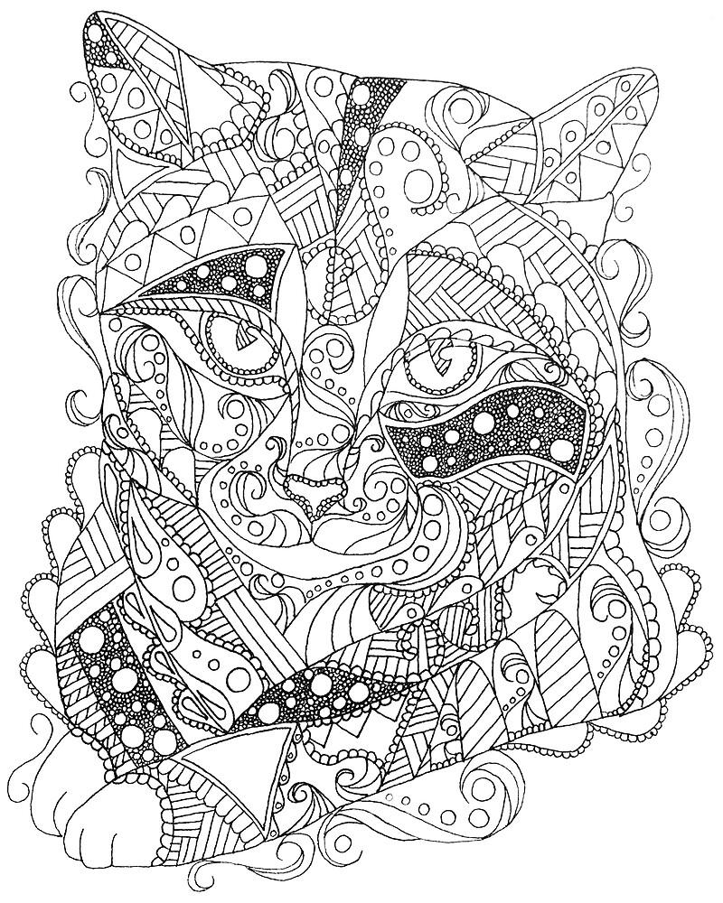 Coloriage Adulte Chat.Coloriage D Art Abstrait Chat Coloriage Adulte Par Artistrybylm