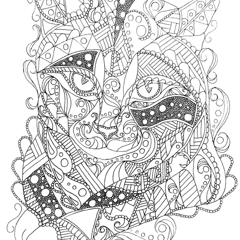 Colorable Cat Abstract Art Adult Coloring\