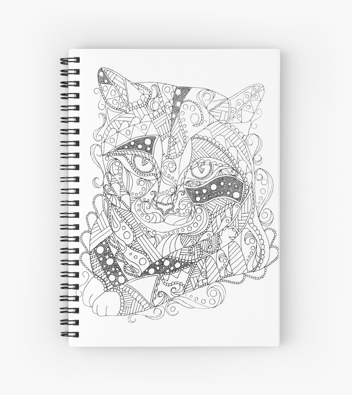 Coloriage Adulte Spirale.Coloriage D Art Abstrait Chat Coloriage Adulte Cahiers A Spirale