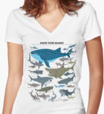 Know Your Sharks Women's Fitted V-Neck T-Shirt
