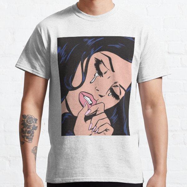 Schwarzes Haar, das Comic-Mädchen weint Classic T-Shirt