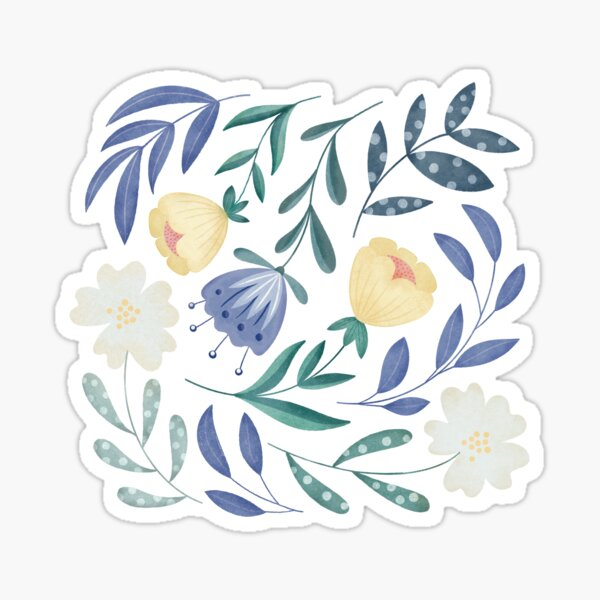 Folk Art, Flores Amarillas, Lila Azulado y Blancas, Flores Silvestres de Primavera Pegatina