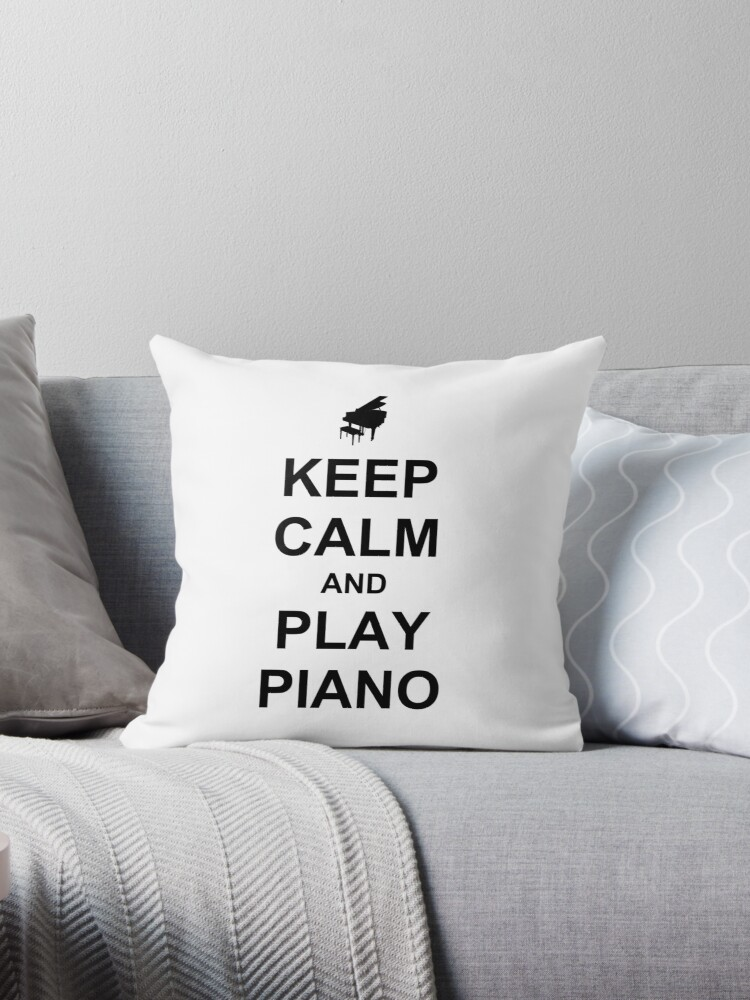 \'Play Piano (Black)\' Throw Pillow by plidner
