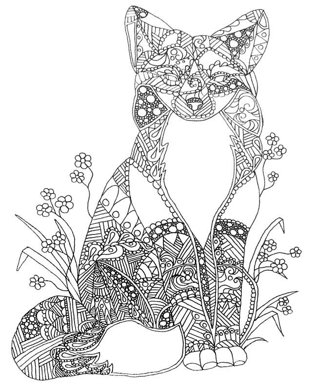 """Colorable Fox Abstract Animal Art Adult Coloring"" by ..."
