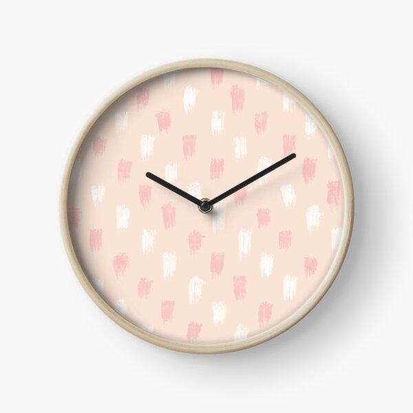 Blush Scandi dot stripes Clock