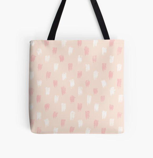 Blush Scandi dot stripes All Over Print Tote Bag