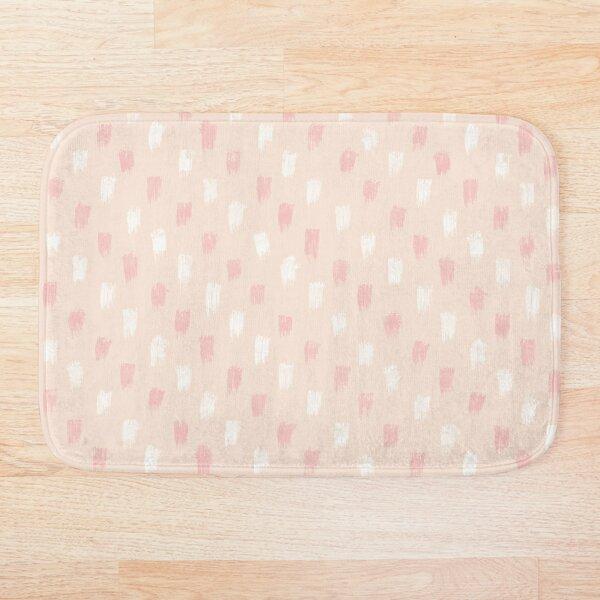 Blush Scandi dot stripes Bath Mat