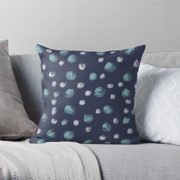 Blue Scandi Paint dots Throw Pillow
