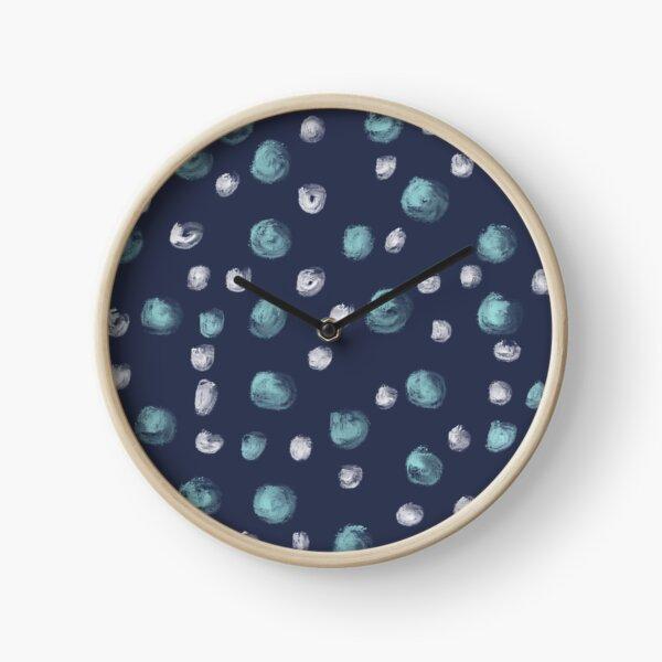 Blue Scandi Paint dots Clock