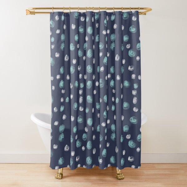 Blue Scandi Paint dots Shower Curtain
