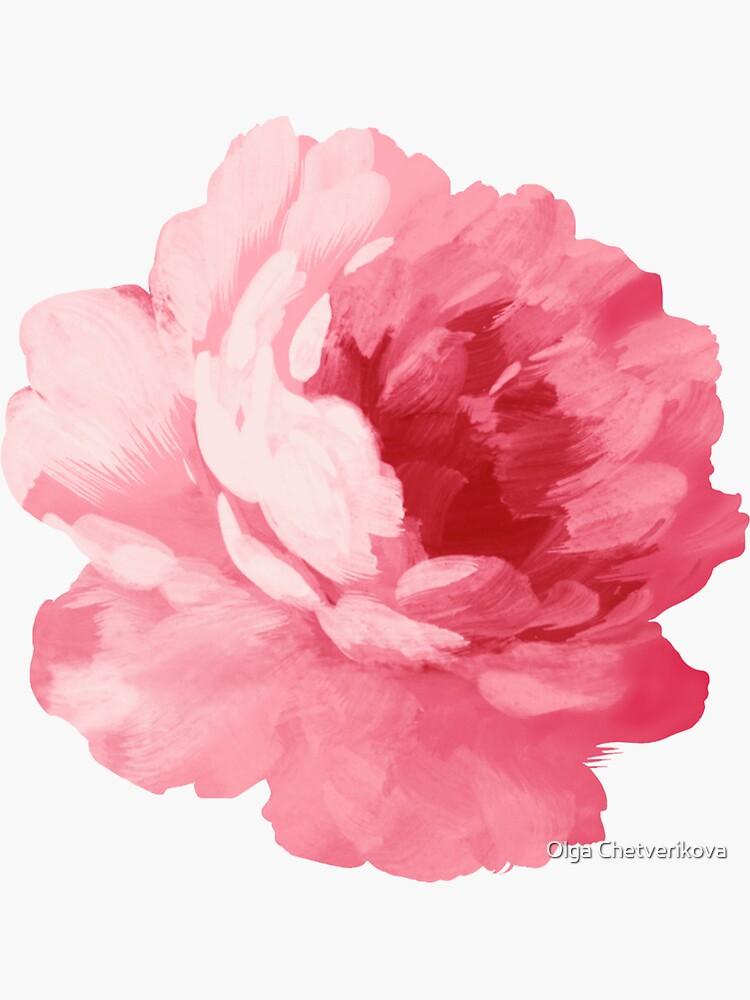 Flower pink peony by afremovartist